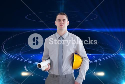 Composite image of architect carrying construction plans and helm