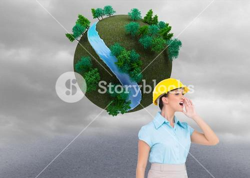 Composite image of attractive architect yelling