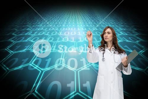 Composite image of stern doctor pointing