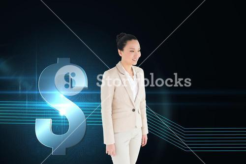 Composite image of smiling asian businesswoman walking