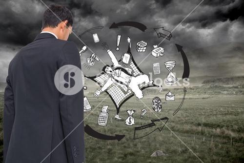 Composite image of business graphic on stormy background