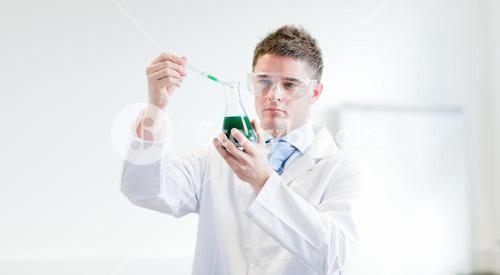Confident doctor making an experience