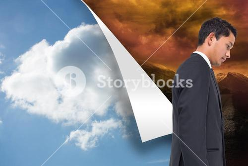 Composite image of sky background over stormy background