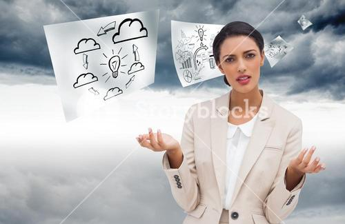 Composite image of confused businesswoman standing