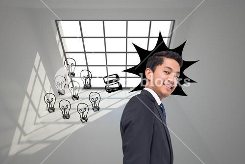 Composite image of graphic with light bulbs on grey background