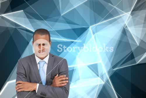 Composite image of doubtful young businessman with arms crossed
