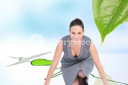 Composite image of smiling gorgeous woman getting ready for departure