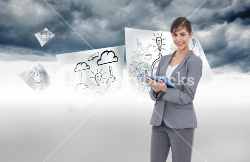 Composite image of smiling businesswoman with tablet computer