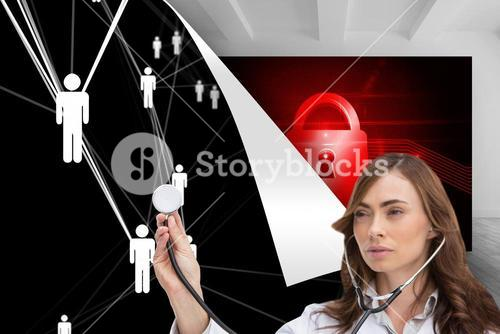 Composite image of thoughtful doctor using stethoscope
