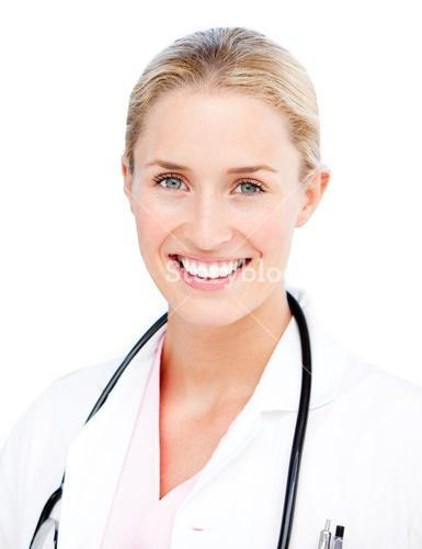 Portrait of a radiant female doctor against white background