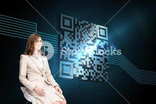 Composite image of smiling businesswoman sitting