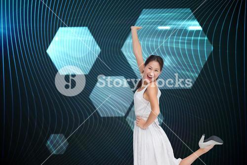 Composite image of happy and classy brunette posing