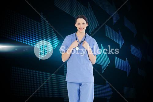 Composite image of smiling medical intern wearing a blue shortsleeve uniform
