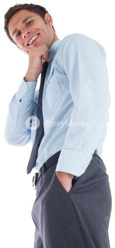 Thoughtful businessman with hand on chin