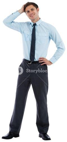 Thoughtful businessman with hand on head