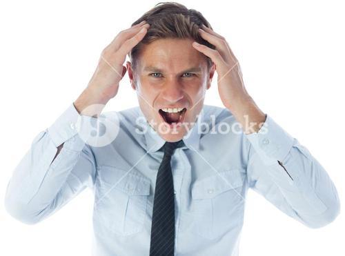 Stressed businessman shouting