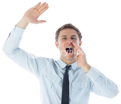 Businessman shouting and waving