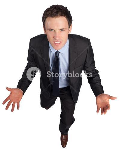Businessman posing with arms out