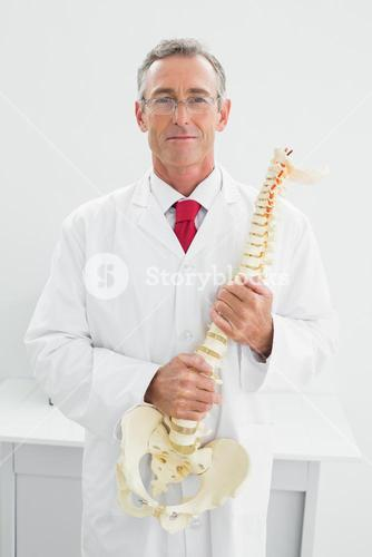Smiling doctor holding skeleton model in office