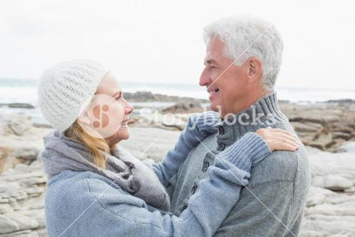 Side view of a romantic senior couple