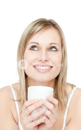 Portrait of a young woman drinking cofee