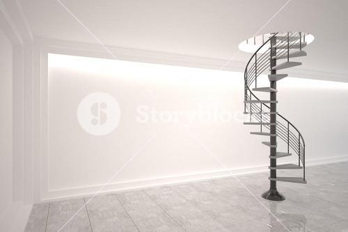 Digitally generated room with winding staircase