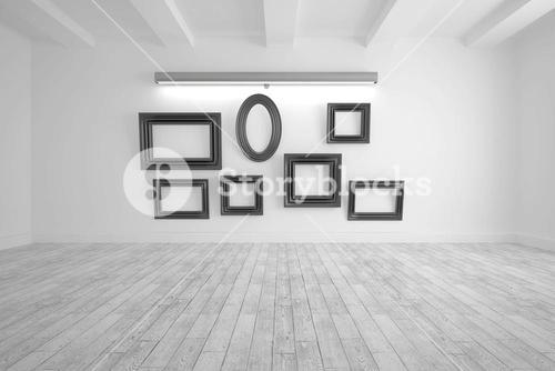 Digitally generated room with picture frames
