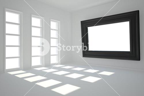 Digitally generated room with picture frame