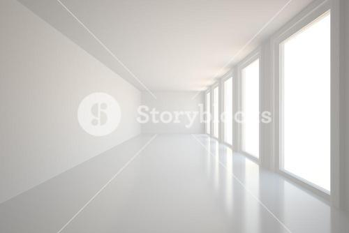 Digitally generated room with windows