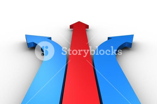 Red and blue arrows pointing