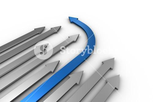 Grey and blue arrows pointing