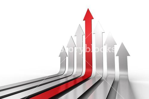Red arrow pointing up with grey arrows