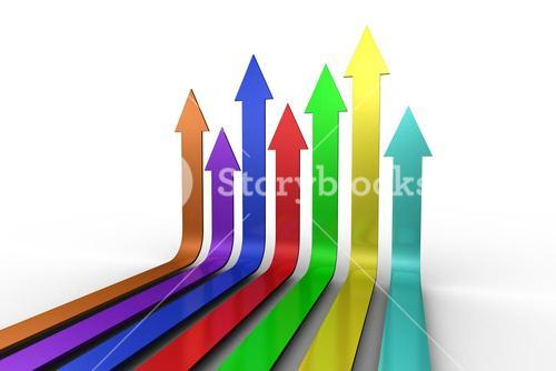 Colourful arrows pointing up