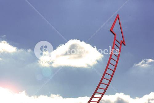 Red ladder arrow pointing up