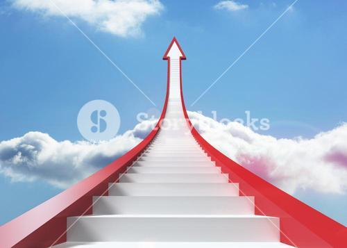 Red steps arrow pointing up