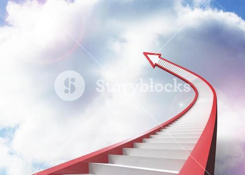 Red staircase arrow pointing up