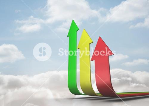 Colourful curved arrows pointing up