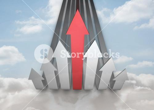 Red and grey curved arrows pointing up