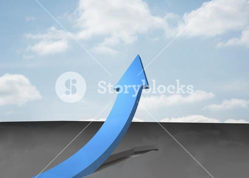 Blue curved arrow pointing up