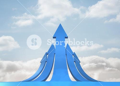 Blue curved arrows pointing