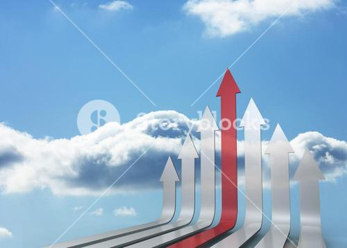 Red and grey arrows pointing up