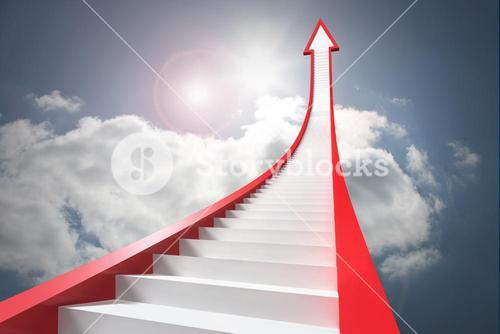 Red stairs arrow pointing up