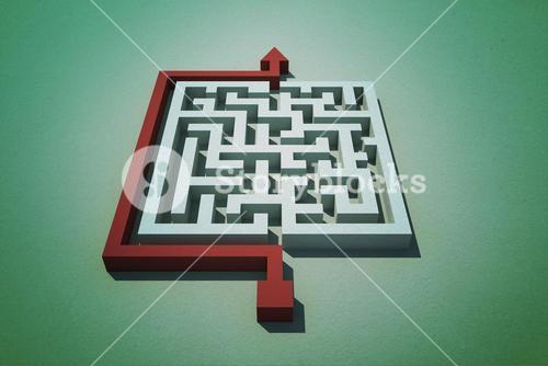 Red arrow going around puzzle