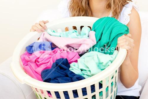 Close up of a woman doing laundry