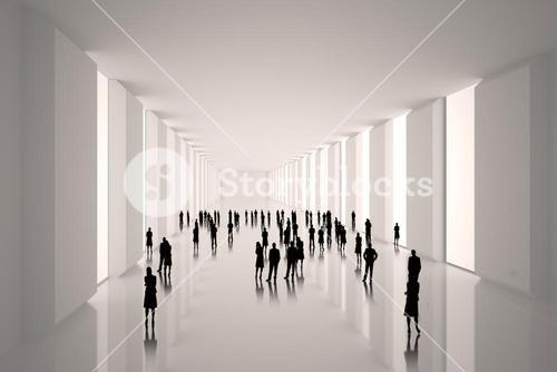 Tiny figures in hall