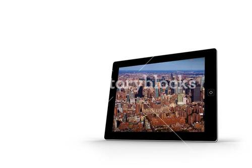 New york on tablet screen