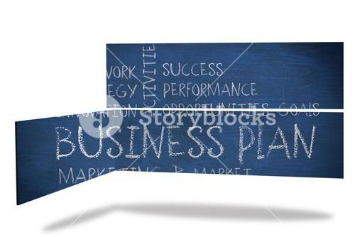 Business plan on abstract screen