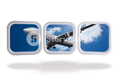 Airplane on abstract screen