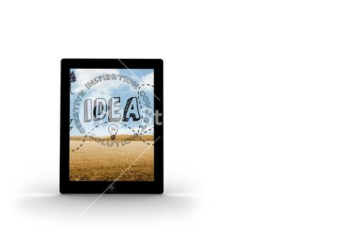 Idea graphic on tablet screen
