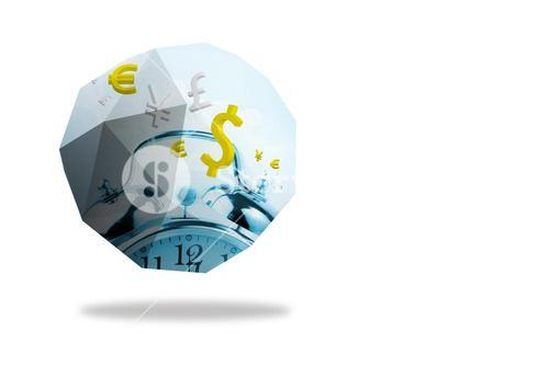 Time is money graphic on abstract screen